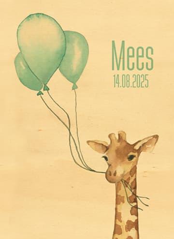 - houten-kaart-baby-zoon-giraffe-ballonnen
