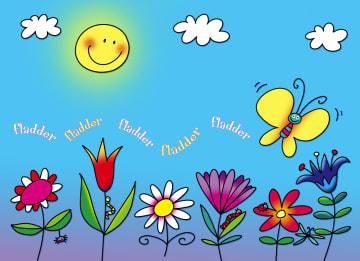 - tekening-bloemen-op-een-rij-met-zon