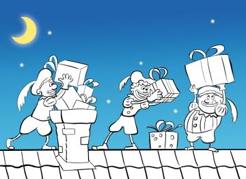 - Sinterklaaskaart-zelf-inkleuren-pieten-op-het-dak