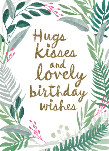 - botanical-kaart-hugs-kisses-and-birthday-wishes