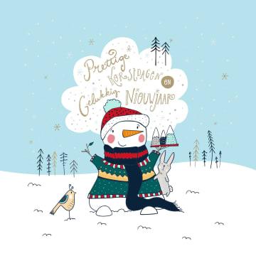 - Kerstkaart-klassiek-Sneeuwpop-Funny-side-up