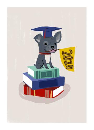- Geslaagdkaart-hond-op-stapel-boeken