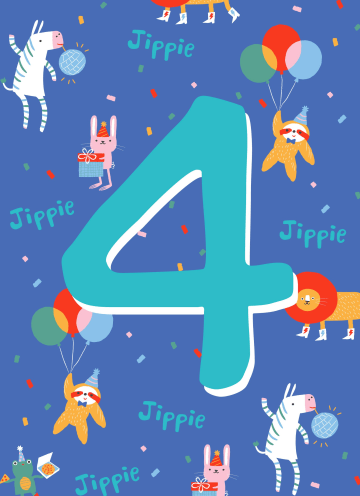 - Verjaardagskaart-4-jaar-dieren