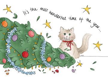 - Kerstkaart-grappig-Kat-met-omgevallen-kerstboom