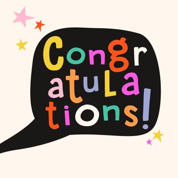 - gefeliciteerd-kaart-vrouw-congratulations-kleurige-letters