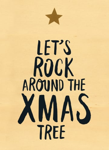 - houten-kerstkaart-lets-rock-around-the-xmas-tree