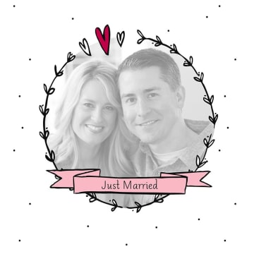 - fotokaart-vierkant-just-married-hartjeskrans
