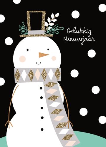 - nieuwjaarskaart-sneeuwpop