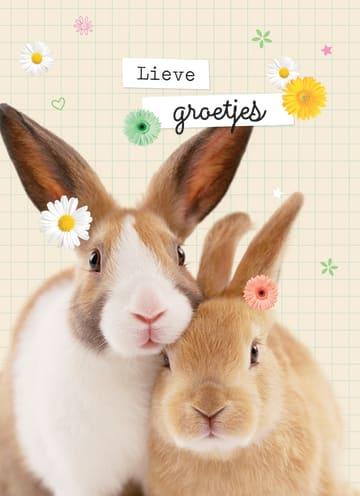 - lieve-groetjes-kaart-met-konijnen-en-bloemetjes