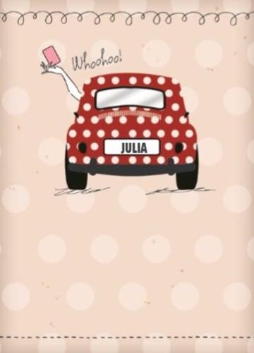 - rijbewijs-geslaagd-rode-auto-witte-stippen