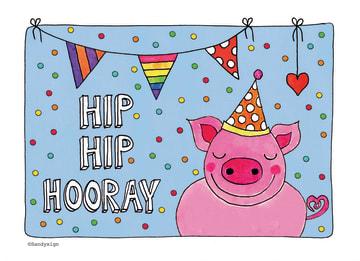- sandysign-hip-hip-hooray-van-een-varken-met-een-feestmuts-op