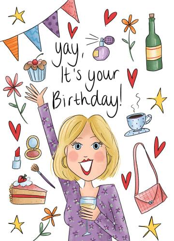 - Verjaardagskaart-vrouw-Yay-it-is-your-birthday-Matia-Studio