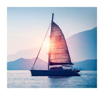 - Sterktekaart-zeilboot-zonsondergang
