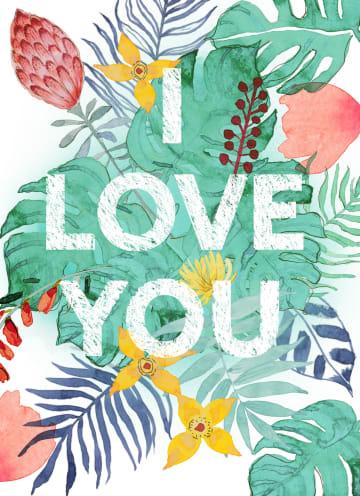 - botanical-kaart-i-love-you-met-tropische-bladeren