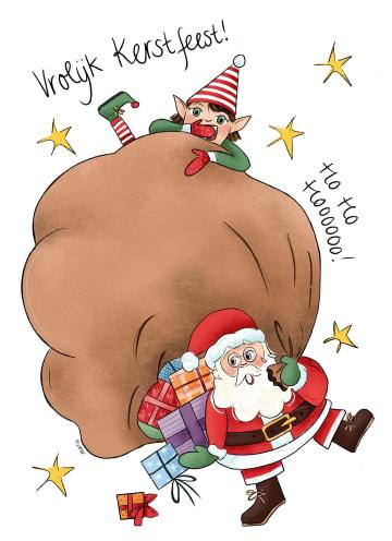 - kerstkaart-vrolijk-kerstman-en-elfje-matia-heesakkers