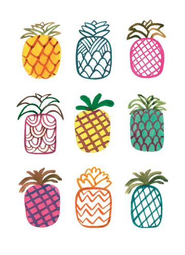- negen-stuks-gekleurde-ananas