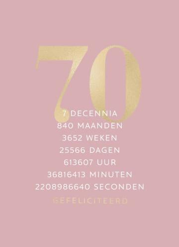 - Verjaardagskaart-70-roze-gouden-letters