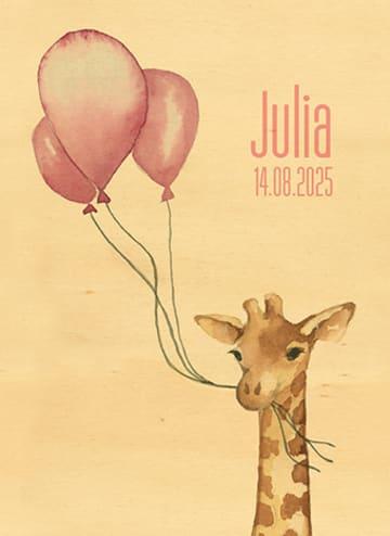- houten-kaart-baby-dochter-giraffe