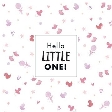 - roze-kaart-hello-little-one-met-verschillende-baby-accesoires