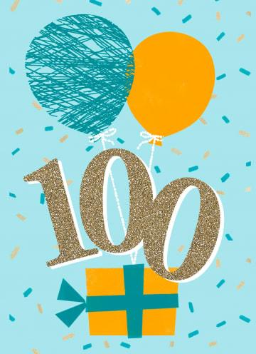 - verjaardagskaart-100-jaar-met-ballonnen