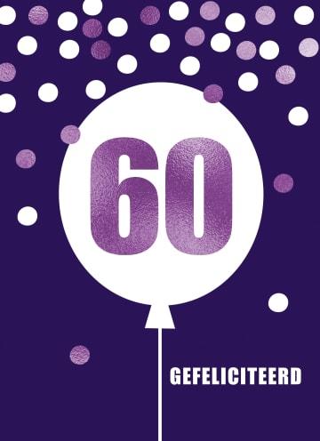 - Verjaardagskaart-leeftijden-60-paars-ballon