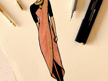 Fashion Illustration - Indo-Western Clothes