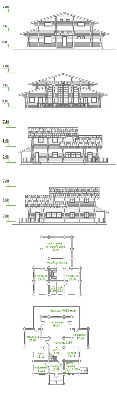 Проект двухэтажного дома из оцилиндрованного бревна.