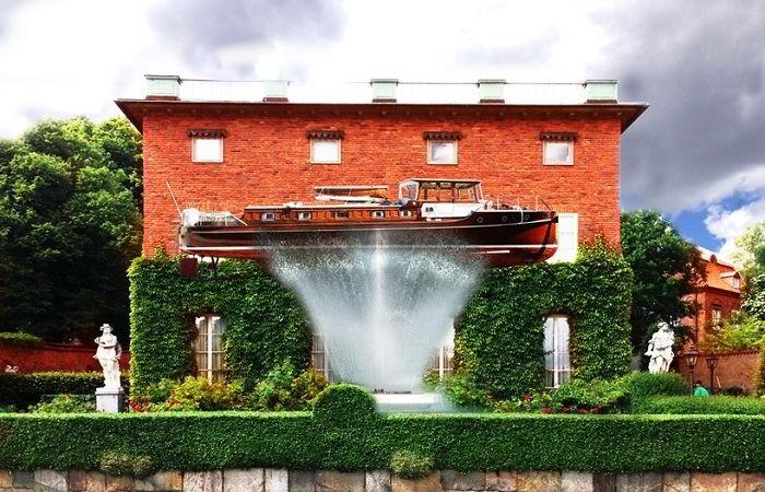 Настоящий корабль фонтан