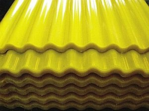 желтые листы пластикового шифера