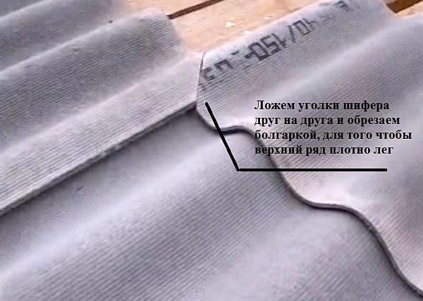 подпиленные уголки волнистого шифера