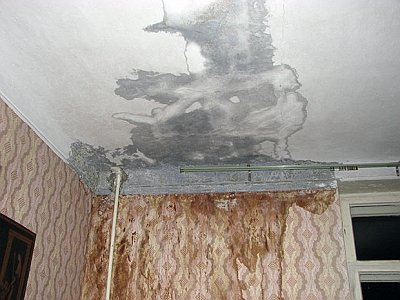 следы на потолке от протекания