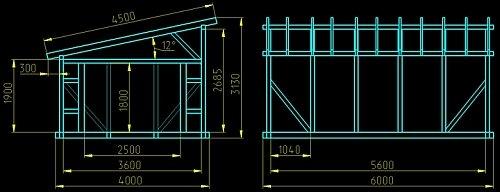 чертеж односкатной крыши гаража 4*6