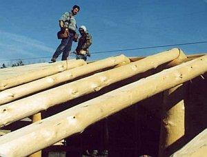 стропила крыши из бревен