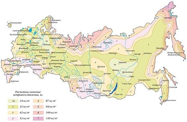 карта ветровых нагрузок в Российской Федерации