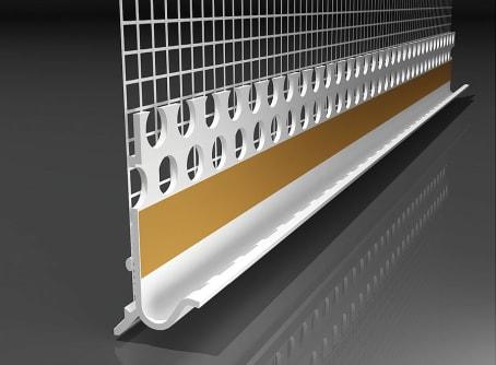 Sockelkantenprofil 5 mm mit Tropfkante und Gewebe (3 Bd à 25 Stb)