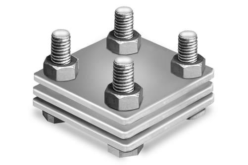 Kreuzverbinder verzinkt, 3-teilig, mit Zwischenplatte, flach/flach