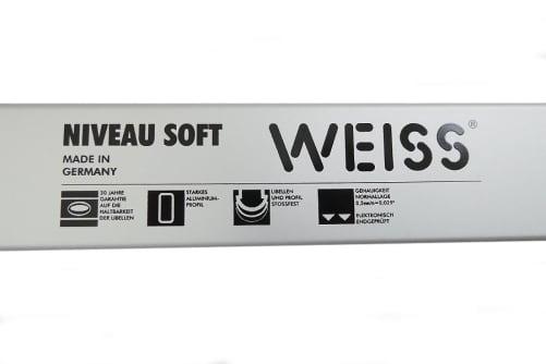 WEISS Profi Wasserwaage mit 2 Libellen und starkem Aluminiumprofil - 4 Stück