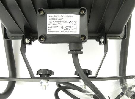 Halogenstrahler 1000 W mit 1,80 m Kabel-Zuleitung