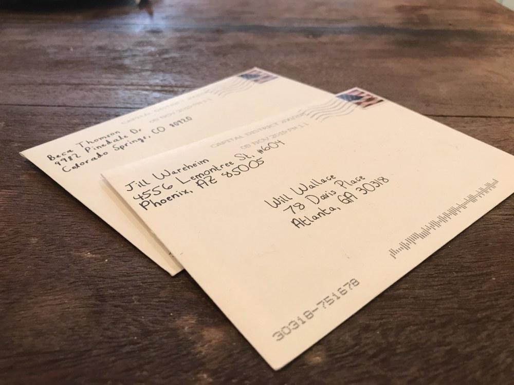 envelopes addressed using robotic handwriting technology