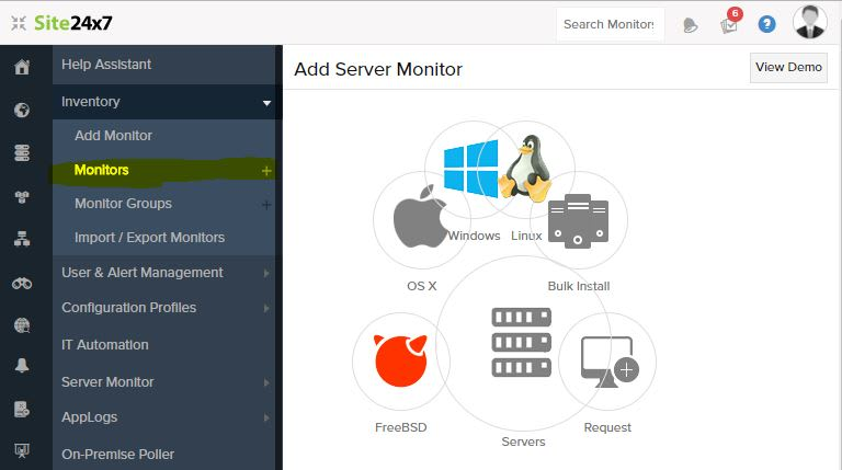 Alibaba cloud Site24x7 Add Server Monitor