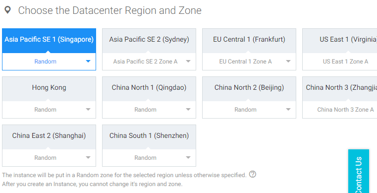 Alibaba Cloud Choose the Datacenter Region and Zone