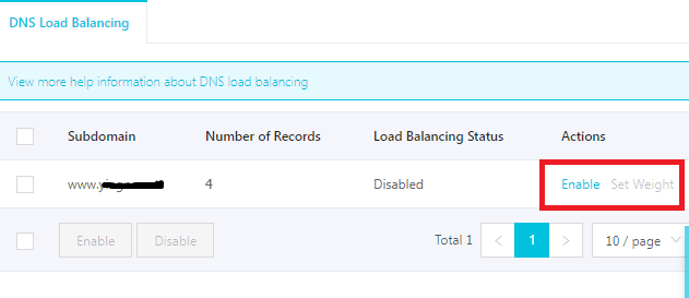Alibaba Cloud DNS load balancing enable