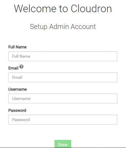 Welcome to CLoudron Setup Admin Acount