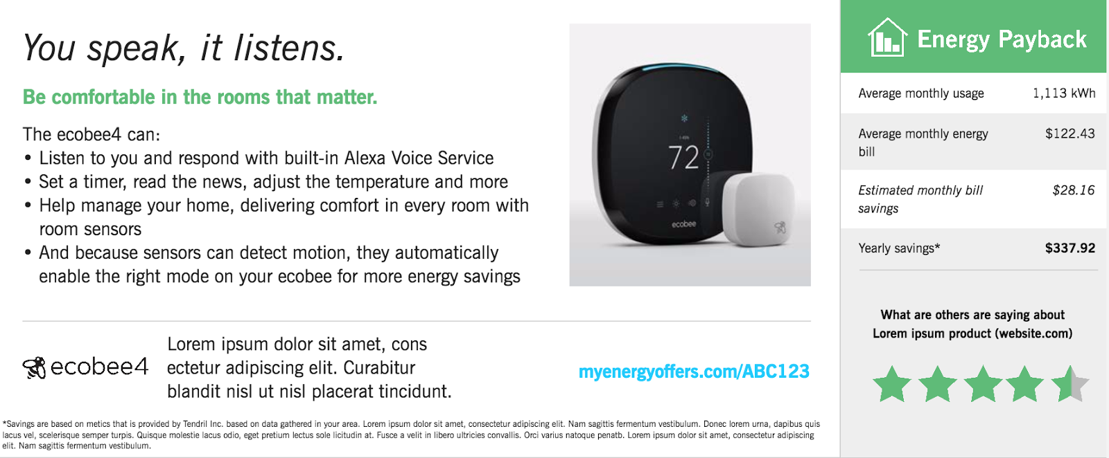Sample advertisement for a smart thermostat