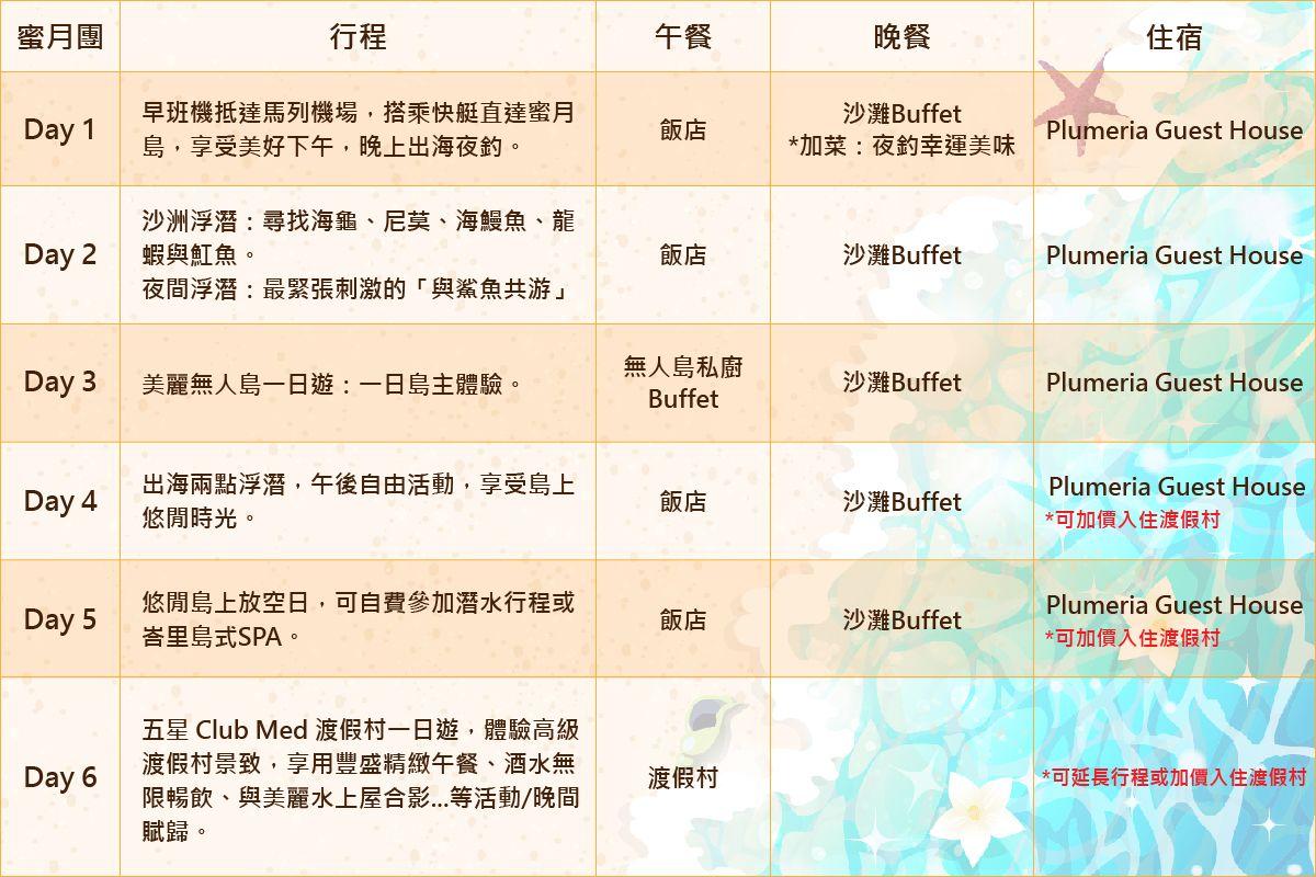 蜜月團行程表