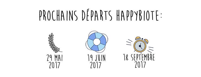 Les prochains départs dans le programme Happybiote