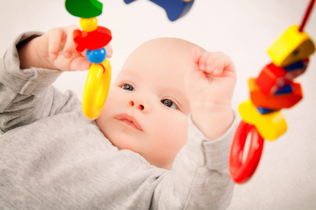 children's play with baby rattle