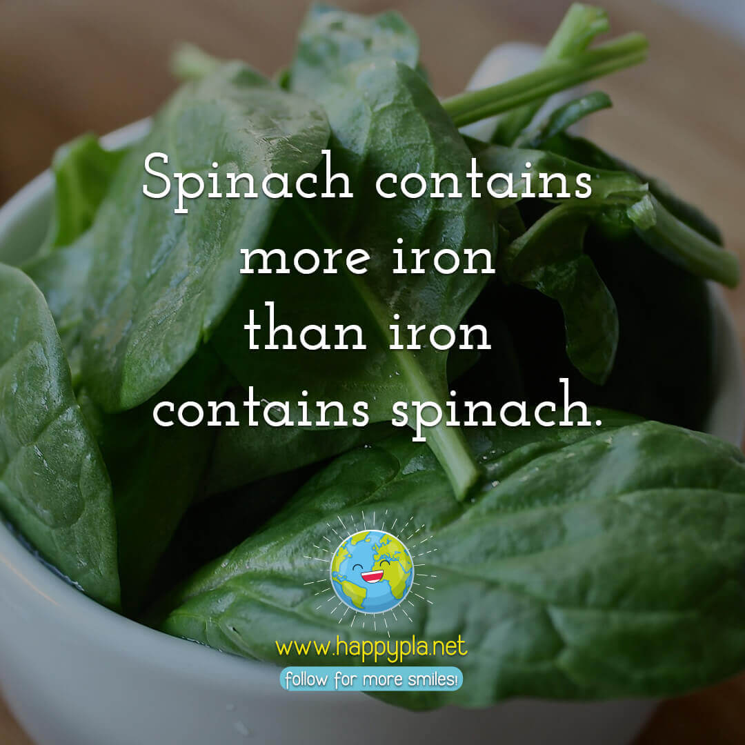 Spinach contains more iron than iron contains spinach.