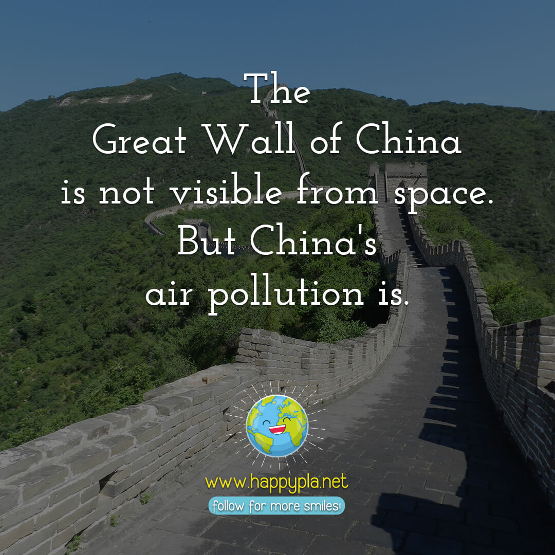 The Great Wall of China is not visible from space. But China's air pollution is.