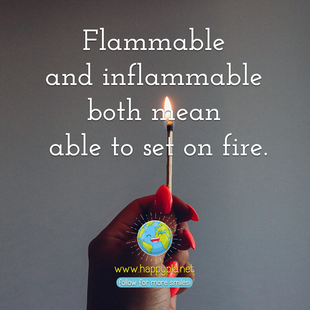Flammable and inflammable both mean able to set on fire.